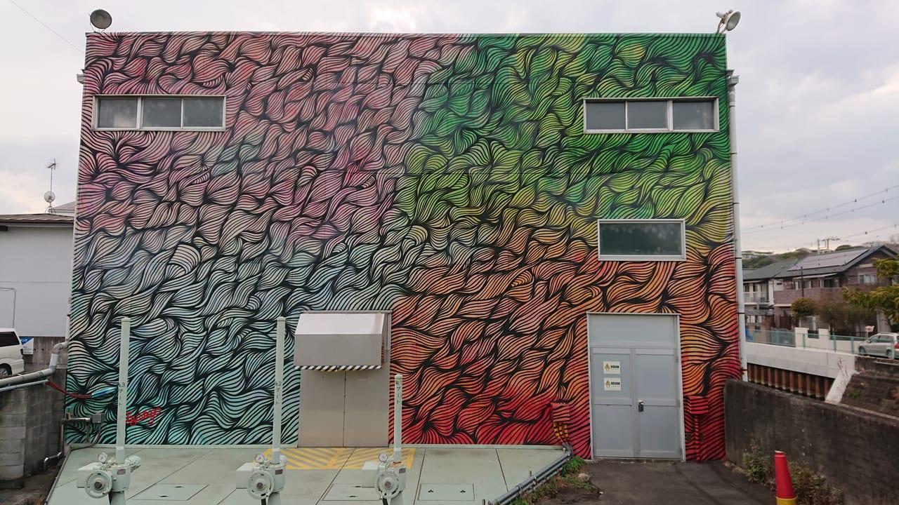 KUGURU展開催に合わせて真間ポンプ場に登場した壁画作品